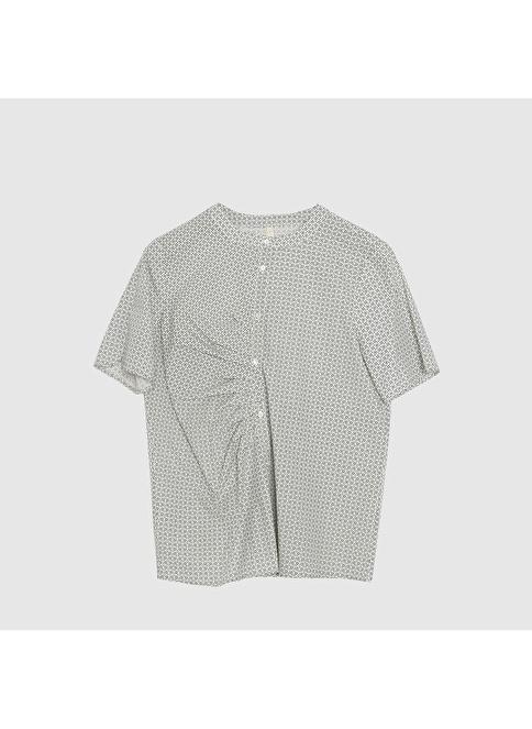 Yargıcı Kırma Detaylı Desenli Gömlek Lacivert